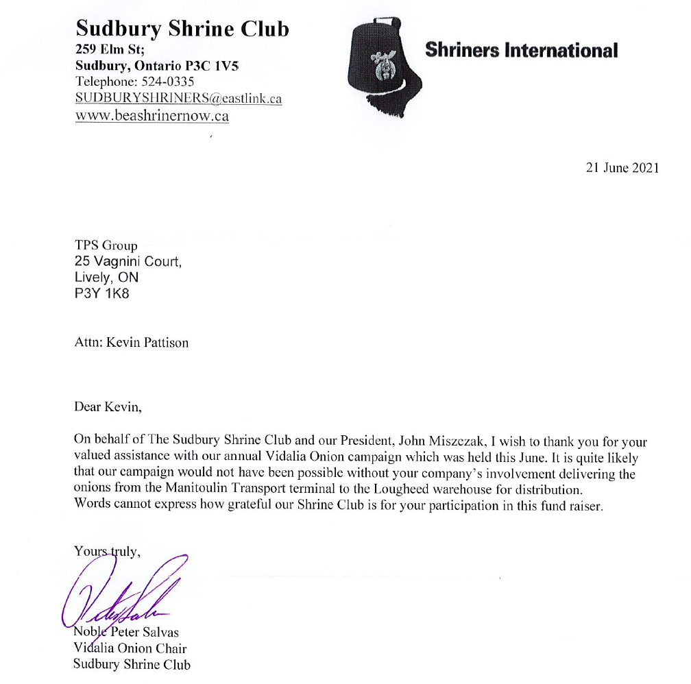 Read more about the article Proud to Be Involved with the Sudbury Shrine Club Fundraiser